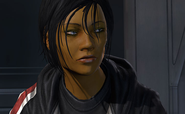 Commander Shepard looking understandably tired