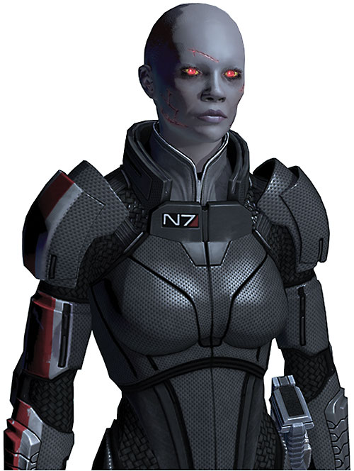 Commander Shepard (Mass Effect 2) (Mandala) (zombie) in N7 gray armor surly