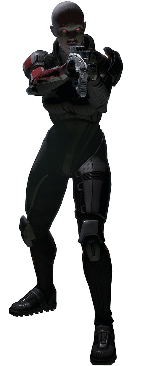 Commander Shepard (Mass Effect 2) (Mandala) (zombie) in N7 gray armor pointing her Predator