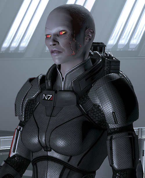 Commander Shepard (Mass Effect 2) (Mandala) (zombie) scars glowing orange