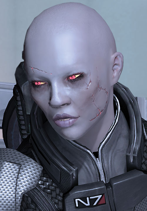 Commander Shepard (Mass Effect 2) (Mandala) (zombie) higher angle face shot