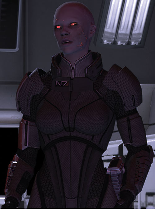 Commander Shepard (Mass Effect 2) (Mandala) (zombie) in dim lighting