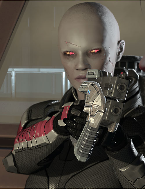 Commander Shepard (Mass Effect 2) (Mandala) (zombie) aiming her Predator pistol