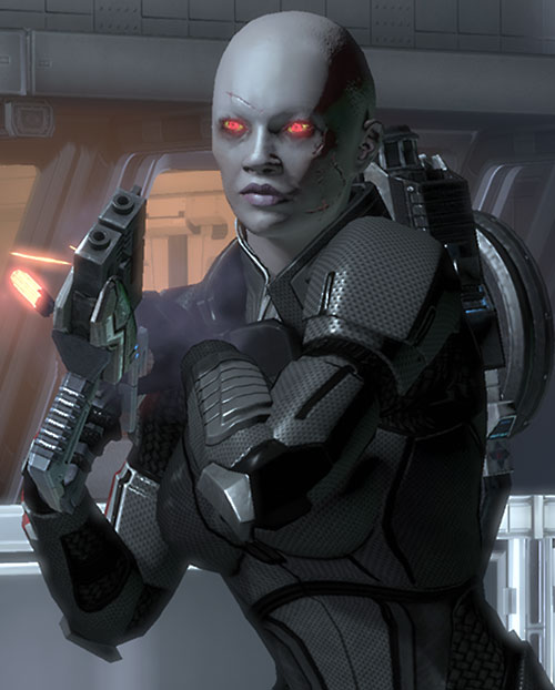 Commander Shepard (Mass Effect 2) (Mandala) (zombie) ejecting a thermal sink from her Predator