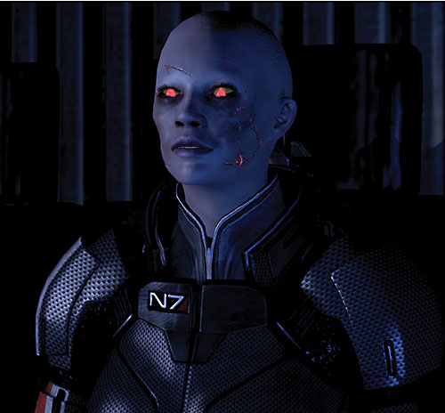Commander Shepard (Mass Effect 2) (Mandala) (zombie) eyes luminous in the dark
