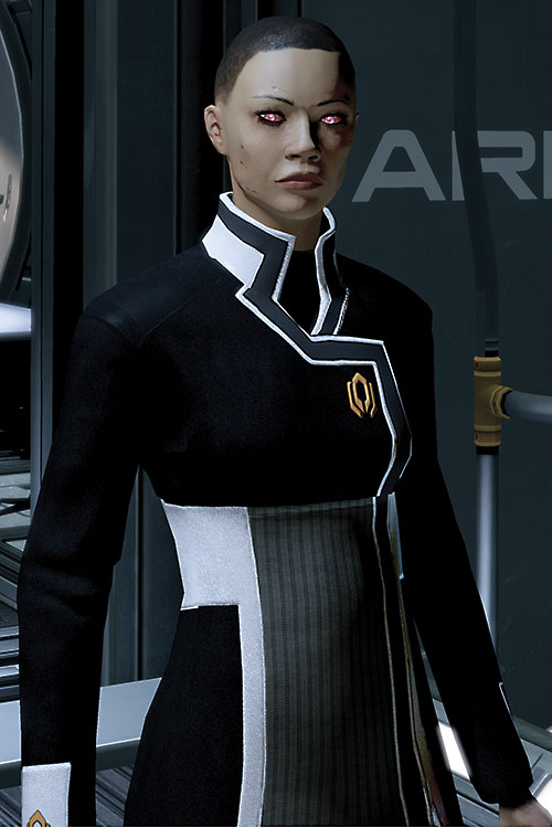 Commander Shepard (Mass Effect 2) (Mandala) with discoloured skin, crew cut and glowing scars and eyes