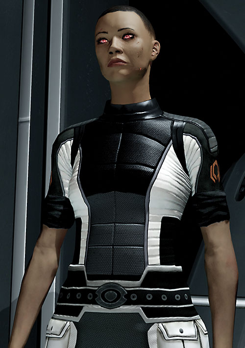 Commander Shepard (Mass Effect 2) (Mandala) in a Cerberus jumpsuit after her resurrection