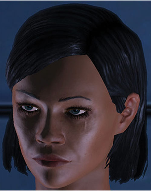 Commander Shepard (Mass Effect 1) (Mandala) face closeup with little scar