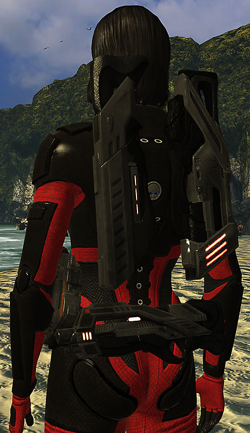 Commander Shepard (Mass Effect 1) (Mandala) Spectre guns on her back