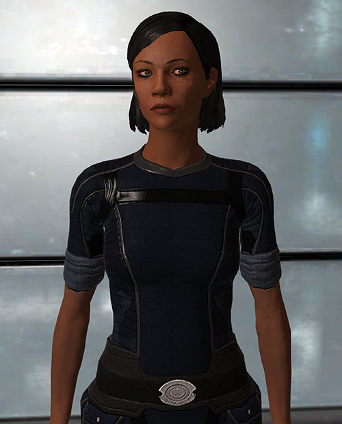 Commander Shepard (Mass Effect 1) (Mandala) blue uniform and shiny metallic wall