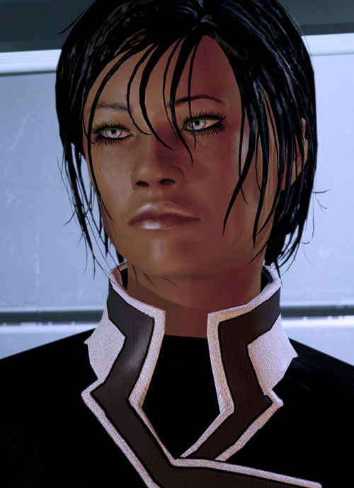 Commander Shepard (Mass Effect 2 late) dubious face closeup