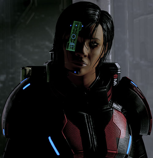 Commander Shepard (Mass Effect 2 late) in the shadows with green HUD