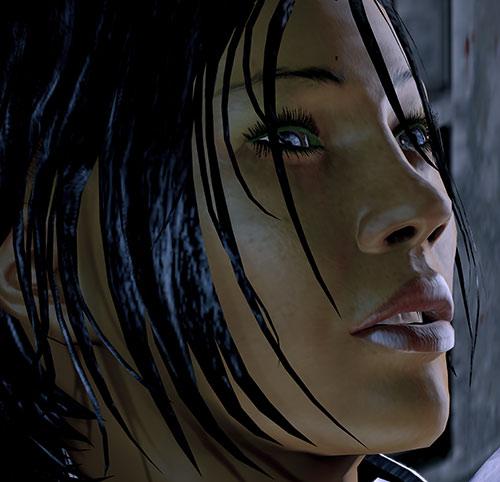 Commander Shepard (Mass Effect 2 late) face closeup side