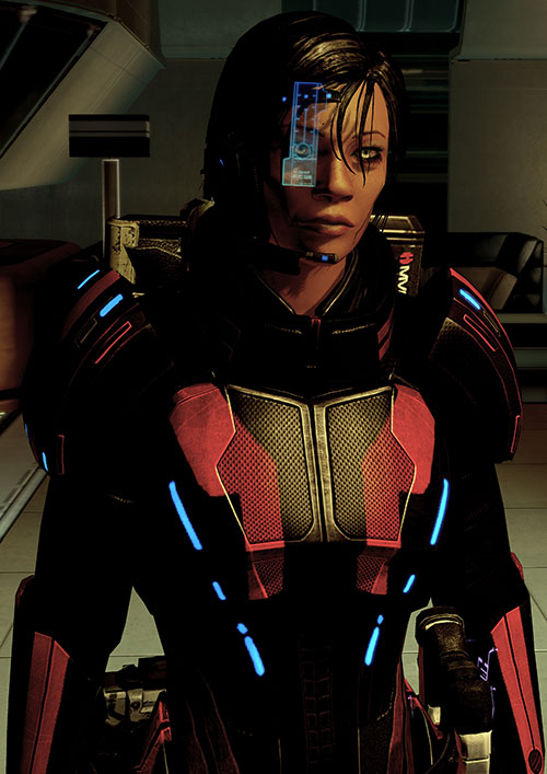 Commander Shepard (Mass Effect 2 late) shadowed ready for a fight