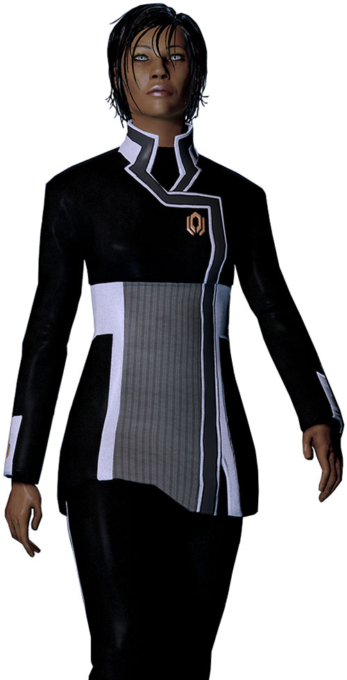 Commander Shepard (Mass Effect 2 late) walking, Cerberus uniform, looking up