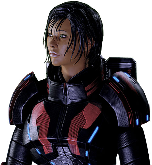 Commander Shepard (Mass Effect 2 late) portrait side Kestrel body armor