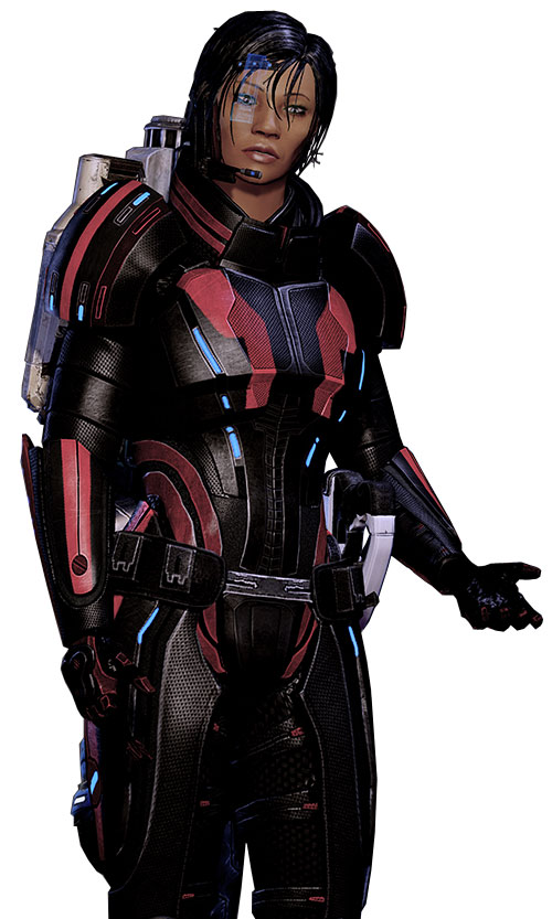 Commander Shepard (Mass Effect 2 late) arguing in her black and red Kestrel