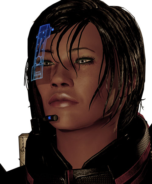 Commander Shepard (Mass Effect 2 late) wary expression with blue visor