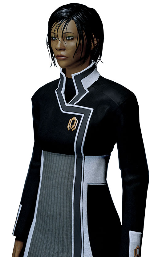 Commander Shepard (Mass Effect 2 late) looking tired, Cerberus uniform