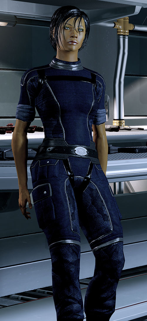 Commander Shepard (Mass Effect 2 late) half-sitting on a weapons bench