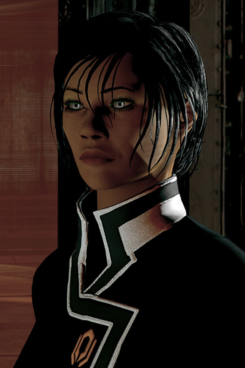 Commander Shepard (Mass Effect 2 late) stare in shadows