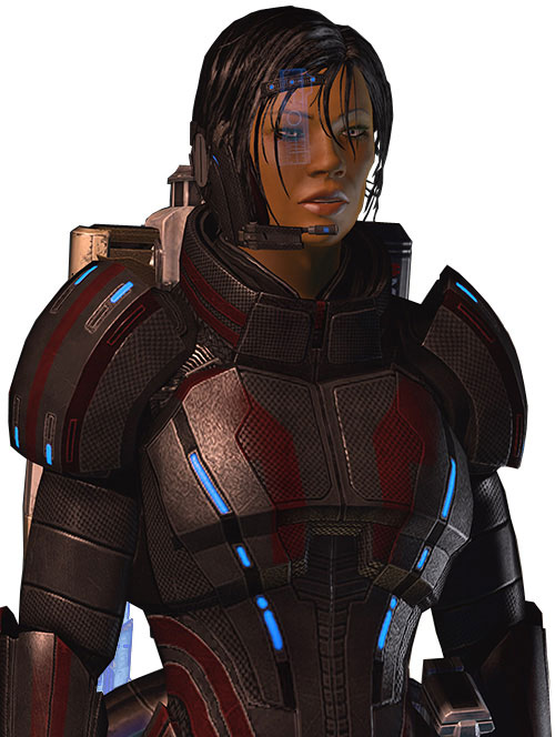 Commander Shepard (Mass Effect 2 late) talking black and red Kestrel hardsuit and Kawashii