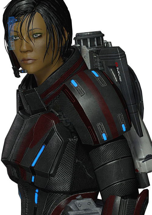 Commander Shepard (Mass Effect 2 late) focused, black and red Kestrel hardsuit