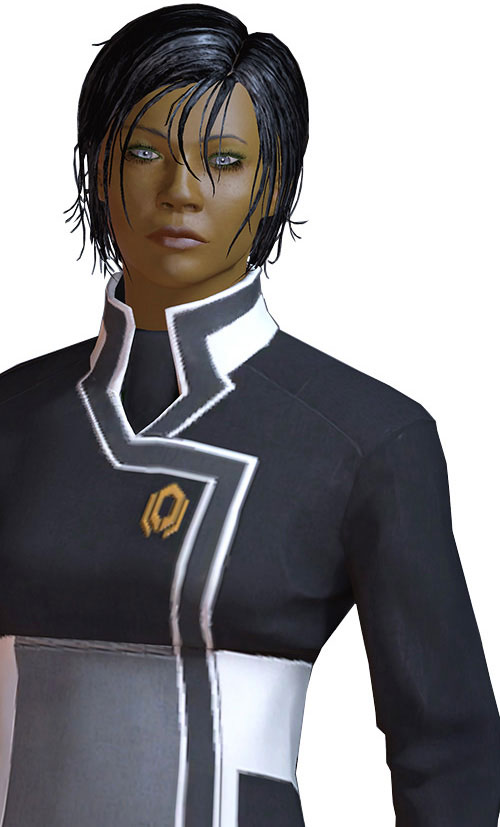 Commander Shepard (Mass Effect 2 late) cold gaze Cerberus uniform