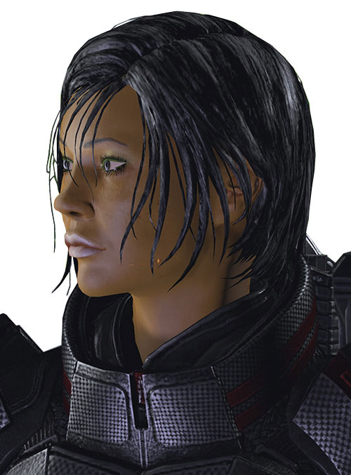 Commander Shepard (Mass Effect 2 late) face closeup side no headgear