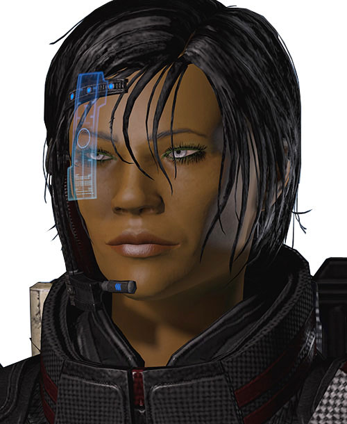 Commander Shepard (Mass Effect 2 late) smiling dangerously