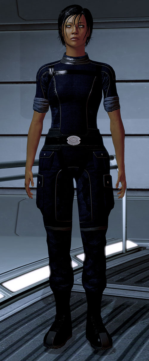 Commander Shepard (Mass Effect 2 late) blue flight suit reflective eyes