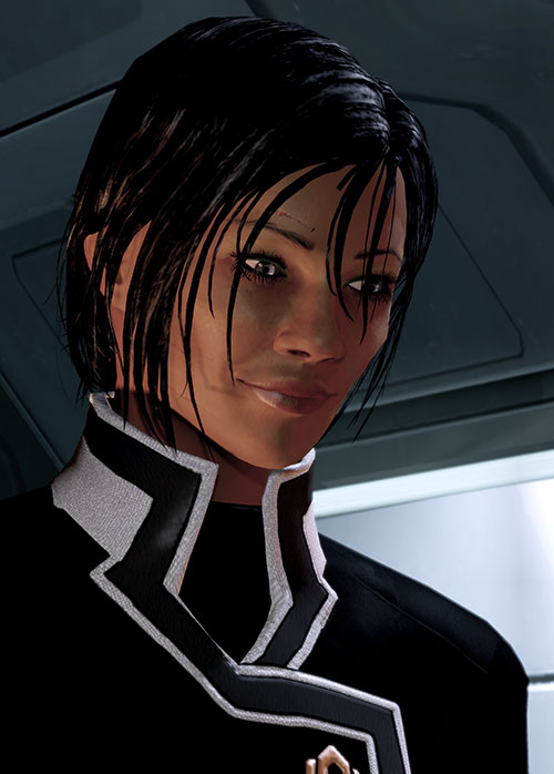 Commander Shepard (Mass Effect 2 late) smiling face closeup low angle