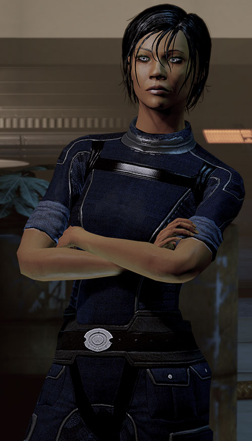 Commander Shepard (Mass Effect 2 late) arms crossed tough expression Alliance blue jumpsuit