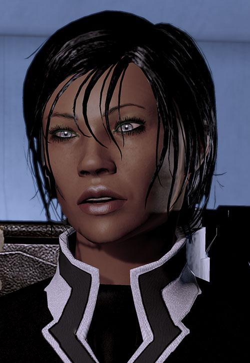 Commander Shepard (Mass Effect 2 late) talking silver eyes