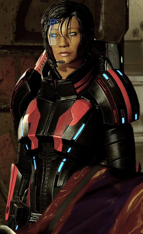 Commander Shepard (Mass Effect 2 late) Kestrel armor and blue HUD plate