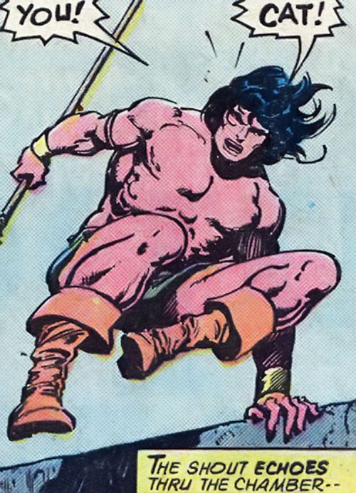 Conan the Barbarian (Marvel Comics version) leaping over a wall