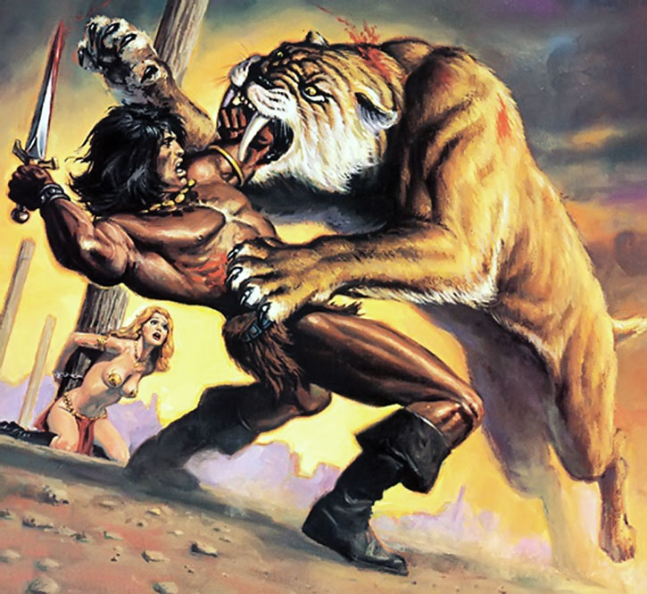 Conan fights a sabretooth tiger