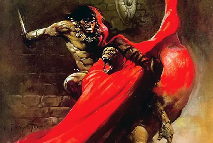Conan attacks a gorilla monster