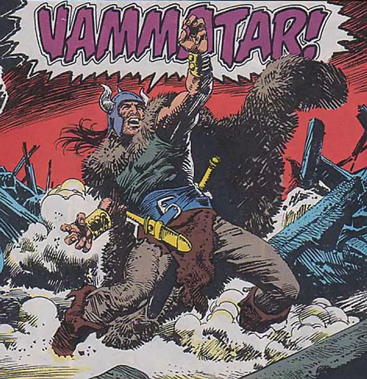 A fur-clad Conan yells to the heavens