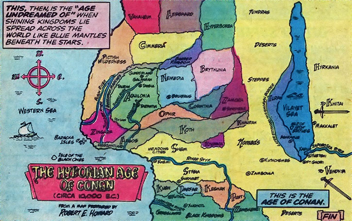A map of the Hyborian Age as explored by Conan