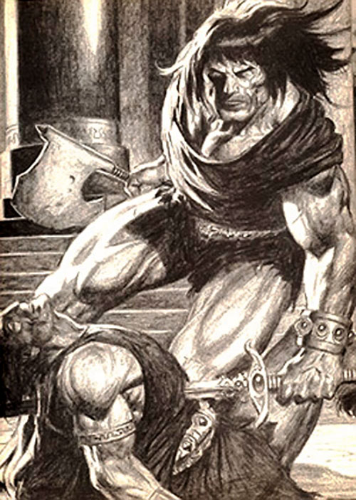 Conan the barbarian in action - B&W art