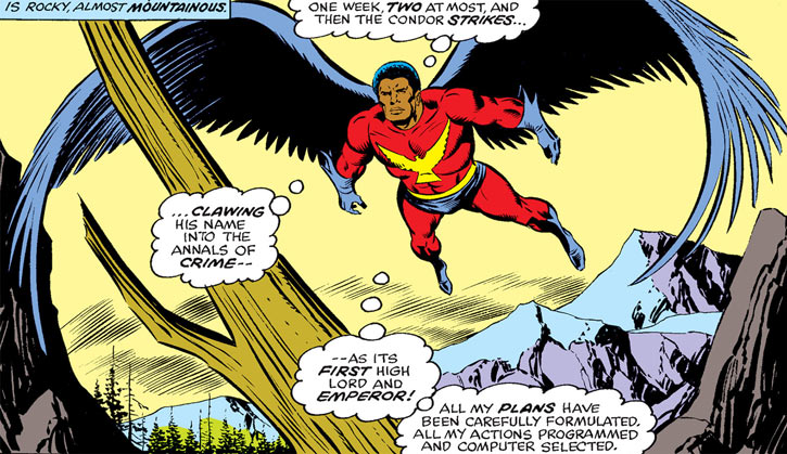 The Condor (Marvel Comics) (Nova enemy) flies over mountains
