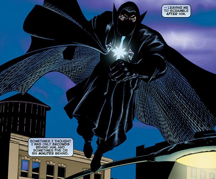 The Confessor runs atop the Astro City roofs