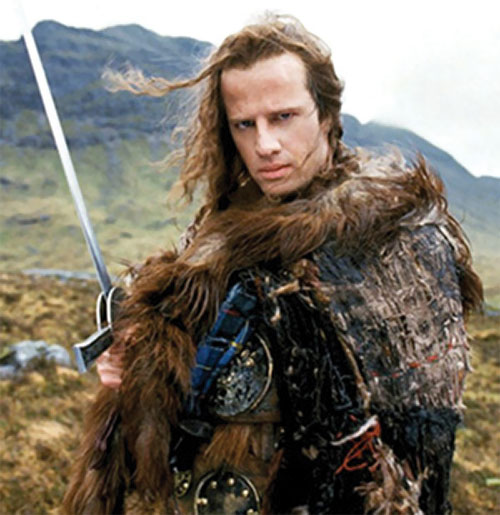 Connor McLeod the Highlander (Christopher Lambert) back in Scotland