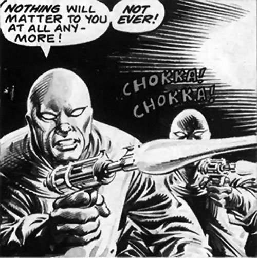Conspiracy agents (Bloodstone enemies) (Marvel Comics) shooting guns