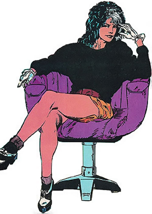 The Contessa Valentina de la Fontaine sitting in a purple chair