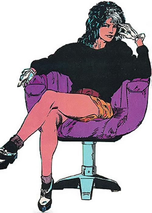 The Contessa Valentina de la Fontaine sitting in a purple chair