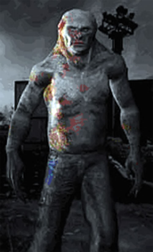 Controller mutant in STALKER with colored blotches