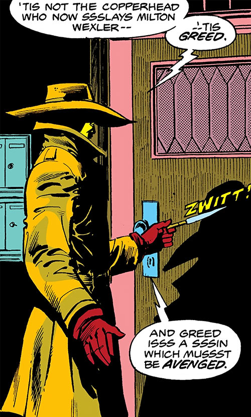 Copperhead (Chesney) (Daredevil enemy) (Marvel Comics) vs. a door
