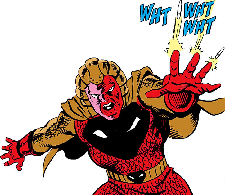 Copperhead (David Lawfers) shooting spikes from his gauntlets